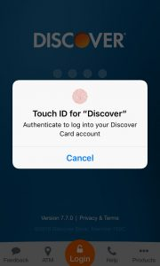 image of login for Discover IT card app