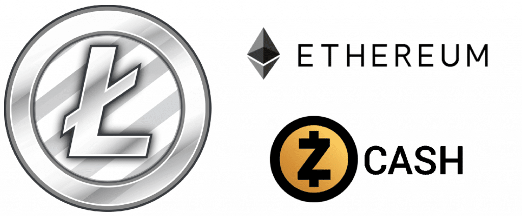 Ethereum, Litecoin, and ZCash logos
